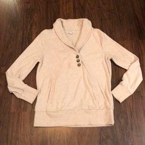 Shawl Collar 3 button detail sweatshirt